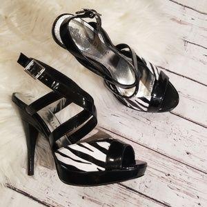 White House Black Market Jane Zebra Heels